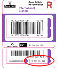 royal mail tracking International Signed - business label