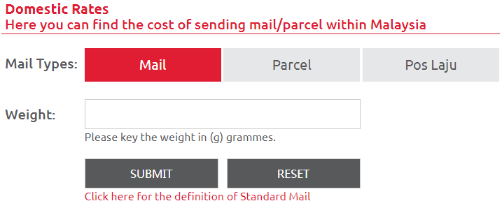 Pos Malaysia Postage Rates