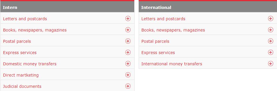 Posta Romana Postage Rates